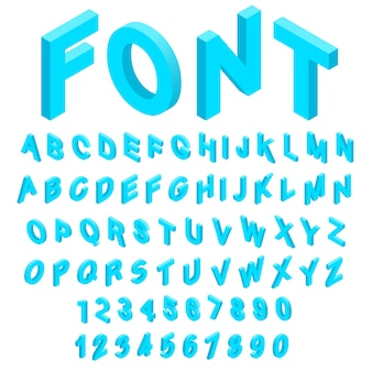 Alfabet met cijferspictogrammen in isometrische 3d stijl worden geplaatst die. engelse lettertype ingesteld collectie vectorillustratie