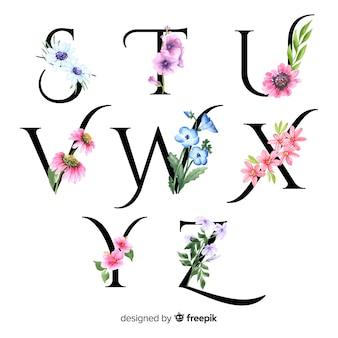 Alfabet met realistische bloemen