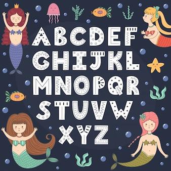 Alfabet met schattige zeemeerminnen.