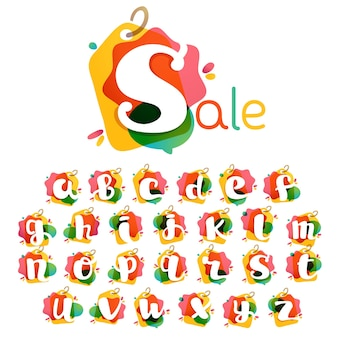 Alfabet met verkoop labelpictogram. aquarel overlay-stijl. lettertype met negatieve ruimte. perfect lettertype voor winkelidentiteit, vitrinedruk, winkelaffiches, enz.