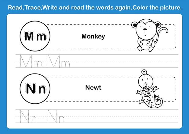 Alfabet mn-oefening met cartoonwoordenschat voor het kleuren van boekillustratie