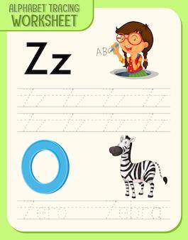 Alfabet overtrekken werkblad met de letter z en z