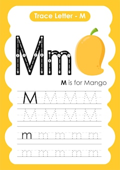 Alfabet overtrekken werkblad met letter m mango