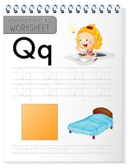 Alfabet overtrekken werkblad met letter q en q