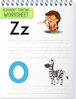 Alfabet overtrekken werkblad met letter z en z