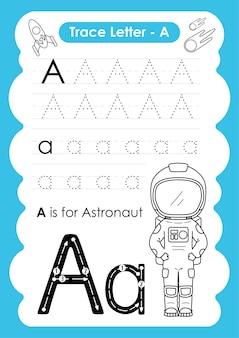 Alfabet overtrekwerkblad met beroepswoordenschat door letter a astronaut