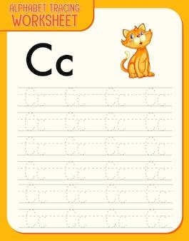 Alfabet overtrekwerkblad met de letter c en c