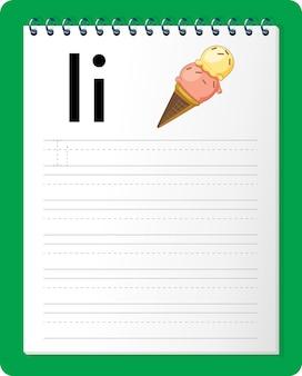 Alfabet overtrekwerkblad met de letter i en i.