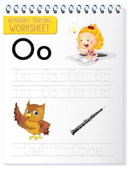 Alfabet overtrekwerkblad met de letter o en o