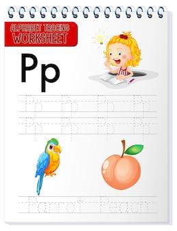 Alfabet overtrekwerkblad met de letter p en p