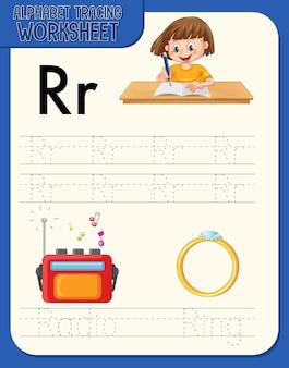 Alfabet overtrekwerkblad met de letter r en r