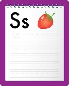 Alfabet overtrekwerkblad met de letter s en s.