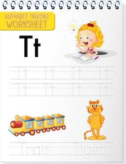 Alfabet overtrekwerkblad met de letter t en t