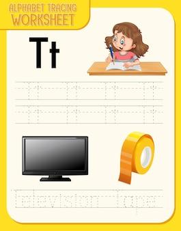 Alfabet overtrekwerkblad met de letter t en t Gratis Vector