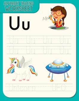 Alfabet overtrekwerkblad met de letter u en u