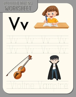 Alfabet overtrekwerkblad met de letter v en v