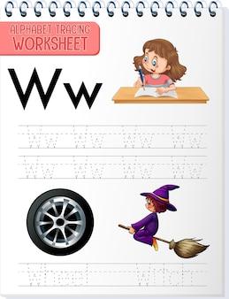 Alfabet overtrekwerkblad met de letter w en w.