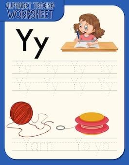 Alfabet overtrekwerkblad met de letter y en y