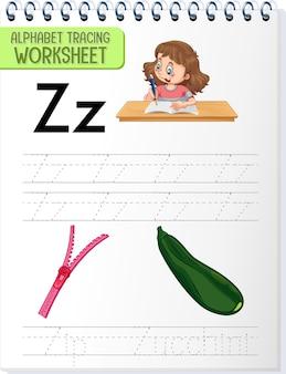Alfabet overtrekwerkblad met de letter z en z