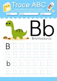 Alfabet overtrekwerkblad met de woordenschatletter b van de dinosaurus