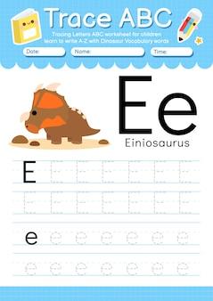 Alfabet overtrekwerkblad met de woordenschatletter e van de dinosaurus