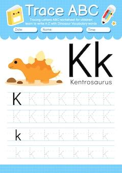 Alfabet overtrekwerkblad met de woordenschatletter k van de dinosaurus