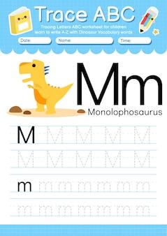Alfabet overtrekwerkblad met de woordenschatletter m van de dinosaurus