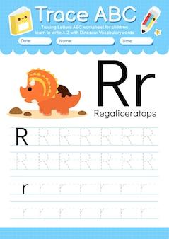 Alfabet overtrekwerkblad met de woordenschatletter r van de dinosaurus