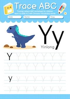 Alfabet overtrekwerkblad met de woordenschatletter y van de dinosaurus