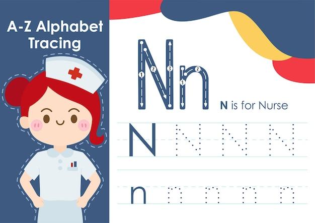 Alfabet overtrekwerkblad met illustratie van baanberoep als verpleegster