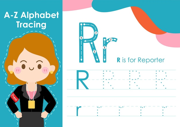 Alfabet overtrekwerkblad met illustratie van baanberoep als verslaggever