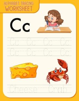 Alfabet overtrekwerkblad met letter en woordenschat
