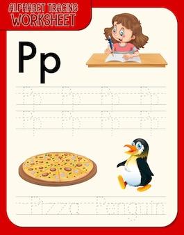 Alfabet overtrekwerkblad met letter p en p
