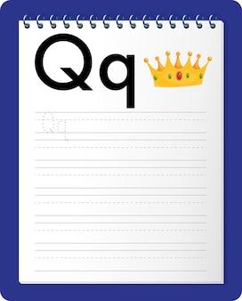 Alfabet overtrekwerkblad met letter q en q
