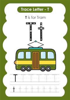 Alfabet traceren werkblad transportvoertuig met letter