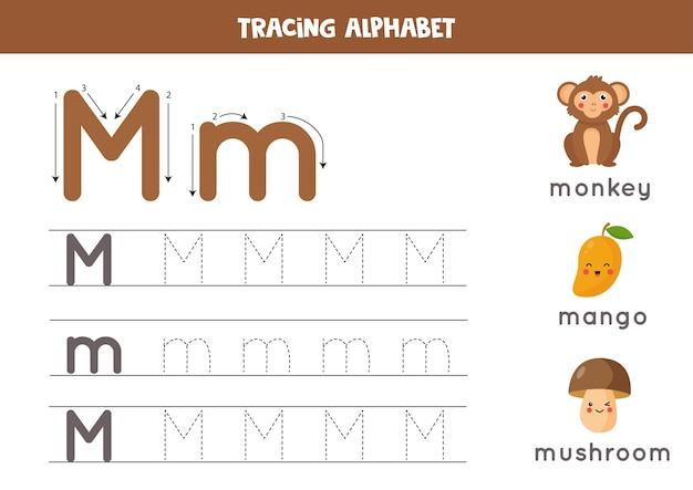 Alfabet tracering werkblad. az schrijft pagina's. letter m hoofdletters en kleine letters traceren met cartoon aap, mango, paddestoel. handschriftoefening voor kinderen. afdrukbaar werkblad.