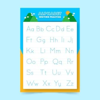 Alfabet tracering werkbladsjabloon voor kinderen