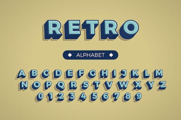 Alfabet van a tot z in 3d retro concept