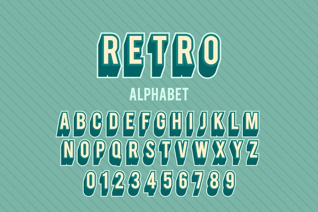 Alfabet van a tot z in 3d retro thema