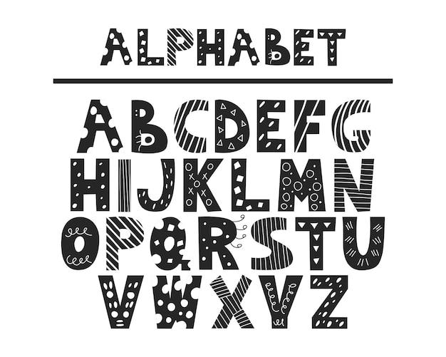 Alfabet van handgetekende doodles zwart lettertype met decoratieve elementen vector engelse hoofdletters