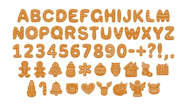 Alfabet van peperkoekkoekjes met glazuur voor kerstmis of nieuwjaar peperkoekkoekjes lettertype