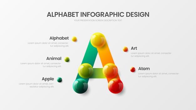 Alfabet veelkleurig karakter ontwerp infographic realistische kleurrijke ballen presentatie illustratie