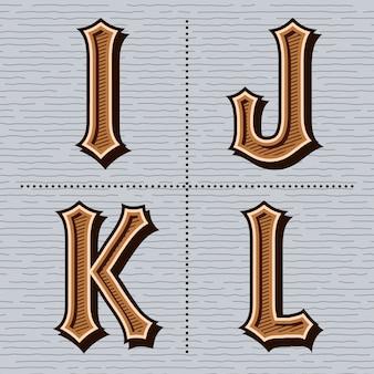Alfabet western letters vintage (i, j, k, l)
