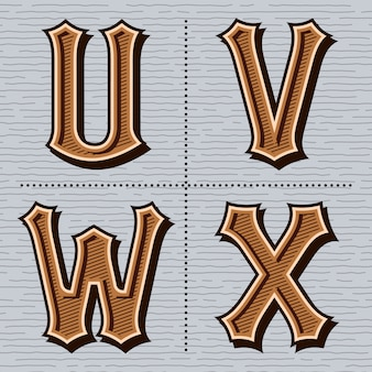 Alfabet western letters vintage (u, v, w, x)