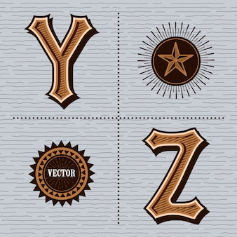 Alfabet western letters vintage (y, z)