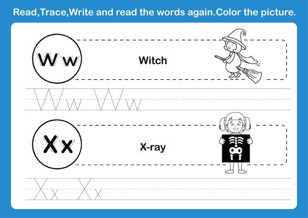 Alfabet wx-oefening met cartoonwoordenschat voor het kleuren van boekillustratie
