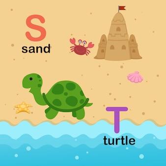 Alfabetbrief s voor zand, t voor schildpad, illustratie