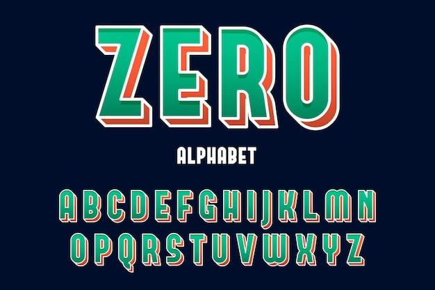 Alfabetformulering van a tot z in 3d-stripstijl