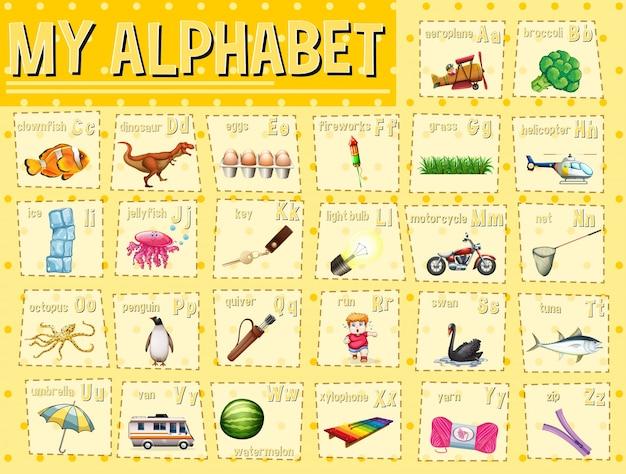 Alfabetgrafiek met letters en woorden