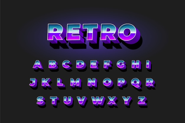 Alfabetinzameling in 3d retro stijl
